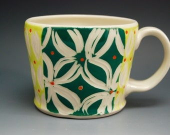 Teal and chartreuse floral etched handmade porcelain mug
