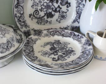 Antique Francis Morley Black Pearlware Aurora Plates