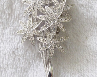 """Now Only 5 Dollars! Sweet Vintage 2 1/2"""" Silver Tone With Clear Rhinestones Bouquet of Flowers Brooch"""