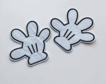 White Mickey/Minnie Mouse Hand Iron on Patch Set