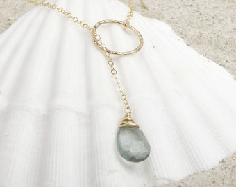 Lariat Necklace/Gold Lariat Necklace/Moss Aquamarine Necklace/Aquamarine Lariat Necklace/March Birthstone