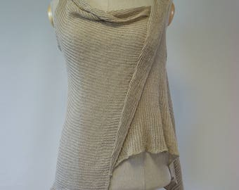 Summer asymmetrical natural top, L size. Made of pure linen.