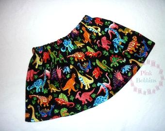 Dinosaur skirt - black dino skirt - bold skirt - bright clothing - baby girls dinosaur skirt - girls tomboy clothes *0-6 years*