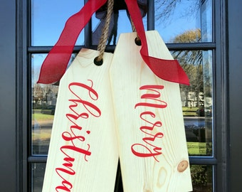 Merry Christmas Large Wood Door Tags Painted in a Beautiful Ribbon Font