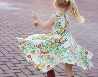 Floral Twirl Dress Twirly Dress Summer Dress Toddler Dress Child Dress Baby Dress Girl Twirl Dress Green Red Yellow Microburst Tropics Dress