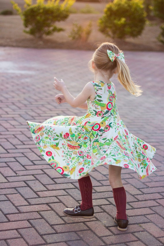 Floral Twirl Dress Twirly Dress Summer Dress Toddler Dress Child Dress Baby Dress Girl Twirl Dress Green Red Yellow Microburst Tropics Dress