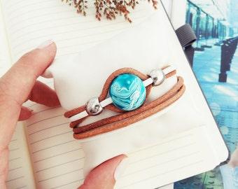 Blue Heaven - Leather Bracelet With Blue Bead