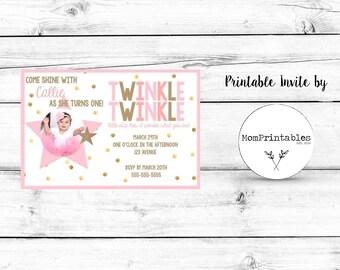 Twinkle Twinkle Birthday Custom Digital 4X6 or 5X7 Birthday Invite!