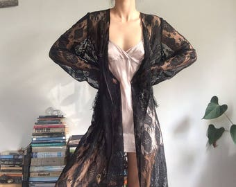 Black Lace Fringed Robe // Free Size