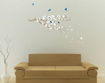 Cherry Blossom Tree Branch with Birds, Vinyl Wall Stickers for Modern Wall design for Home Decor Art