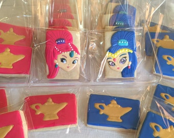 12 GENIE bottle - twin GENIES - SHIMMER magic  lamp - inspired theme vanilla sugar cookies -  aladin - party favor - shimmer & shine