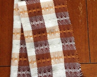 Pair of Custom Hand Woven Cotton Tea Towels /  Dish Towels