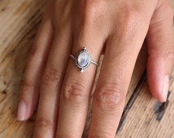 moonstone stack ring | sterling silver ring | stacking ring