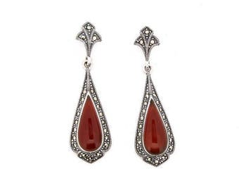 Carnelian Earrings Antique Style Red Agate Silver Marcasite