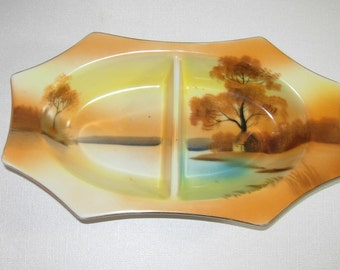Noritake Hand Painted Divided Relish Dish