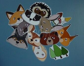 "12 ""animals of the forest"" stickers: wild boar, Badger, Fox, Wolf, deer, rabbit, bear, squirrel, hedgehog, OWL..."