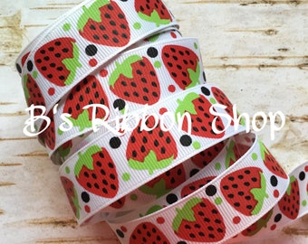 "7/8"" Strawberries on White USDR grosgrain ribbon food fruit summer picnic"
