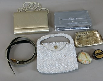 lot of vintage gold, silver and plastic bead purses and belt