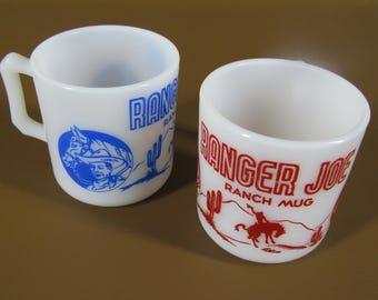 Pair of Hazel Atlas milk glass coffee mugs RANGER JOE Ranch Mug