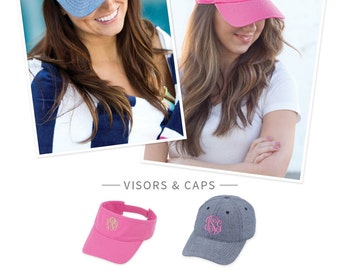 Monogrammed Hats & Visors - Gifts, Bridesmaids, Personalized, Summer, Hat