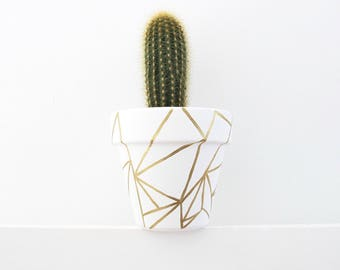 Hand Painted Plant Pot - Shattered Gold