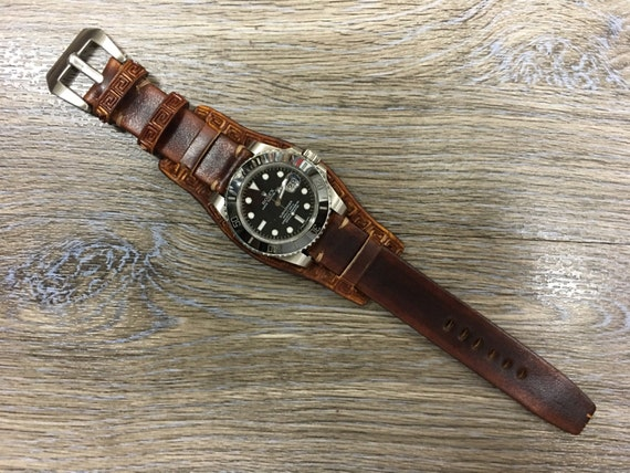 Real Leather craving art cuff band | Leather Cuff watch strap | Cuff Band | Leather Cuff watch Strap for all Rolex, IWC in 19mm/20mm lug