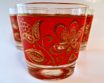 Retro Jacobean Floral Rocks Glasses Tumblers 3 Culver Madmen Style Red And Gold Mid-Century Weighted Bottom Libbey 1960s