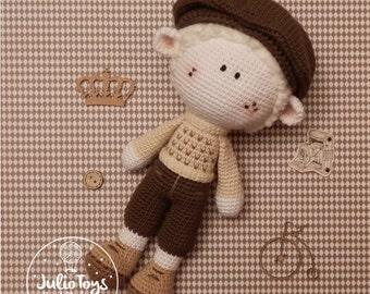 Cyclist crochet toy