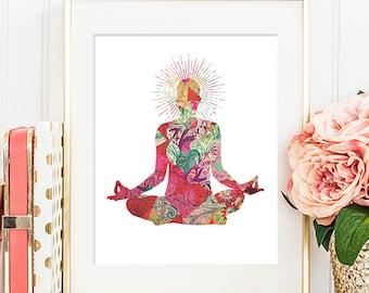75% OFF SALE - Yoga Pose - 8x10 Yoga Art, Yoga Print, Yoga Artwork, Printable Wall Art, Home Decor, Yoga Wall Decor, Yoga Wall Art, Gym Art