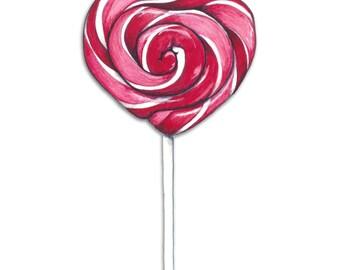 Watercolour Heart Lollipop Art Print