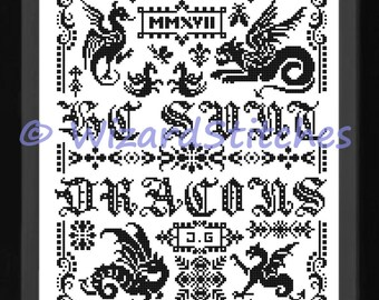 "HERE Be DRAGONS Counted Cross Stitch SAMPLER Pattern Chart - Approx 10"" x 14"" - pdf Download"