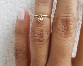 Midi Heart Solid 14k Gold Ring