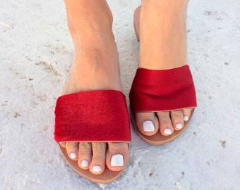 aelia greek sandals/leather sandals/ slippers/red sandals/red shoes / caw hair/new/ flip flop