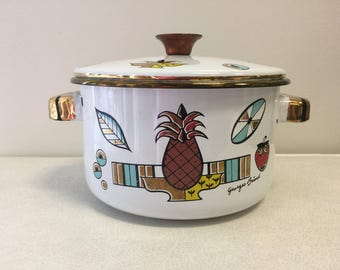 Georges Briard Ambrosia Enamel Pot with Lid 1960s Vintage