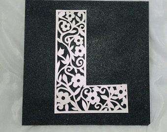 Personalised Initial Papercut framed