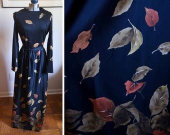 Small / Medium - Wonderful Vintage Yves Jennet Dress - Perfect for Fall - Leaves