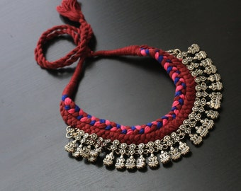 Thread Lakshmi Necklace with handmade tassel, Ethnic, Traditional, Rabari Necklace, Tribal Necklace, Thread Necklace