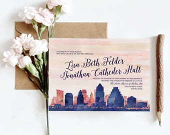 Denver, CO Watercolor Skyline Wedding Invitations | 4 Piece Invitation Stationery Suite | CUSTOMIZED to Match Your Wedding