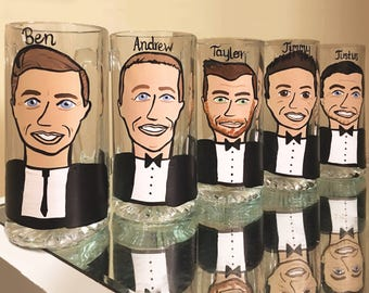 Charicature Bridal Party Glasses - Bridesmaid Gifts - Be My Maid - Cartoon Wine Glasses