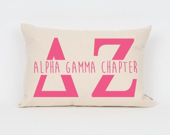 Delta Zeta Custom Chapter Pillow // Big Little Gift // Sorority Pillow // Sorority Print // Sorority Chapter // Bid Day Gift