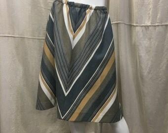 Skirt SALE 70s Chevron Boho Midi Skirt, Medium, Sandstone Titanium Grey Striped