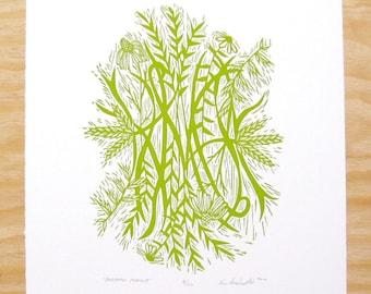 "Woodcut Print - ""Peaceful Prairie"" - Green Native Flowers"