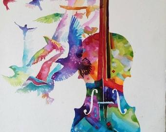 Optimism /Watercolor Original Large Painting Colorful/ Guitar Painting/Music Art/ Flying Birds/Israeli Artist /Gadi Dadon
