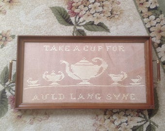 Victorian Hand Crocheted Auld Lang Syne Aladdin's Lamp Tea Set Handled Serving Tray