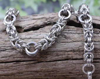 Sterling Silver Byzantine Bracelet Variation. 925 Chainmail, Heavy & Long.