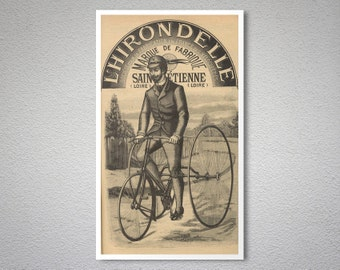 L'Hirondelle  Vintage Bicycle Poster - Poster Print, Sticker or Canvas Print