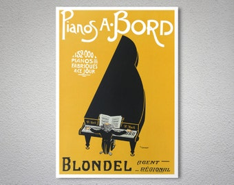Pianos A. Bord  Blondel Vintage Entertainment Poster - Poster Print, Sticker or Canvas Print