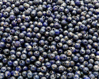 100pcs Czech Pressed Glass Beads Round 3mm Opaque Sapphire Picasso