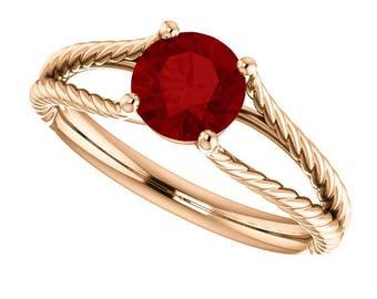 1.20 Carat Red Ruby Designer Rope Style Ring in 14K Rose Gold