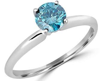 SALE!! 0.40 Carat G VS2 Premium Quality Ideal Cut Round Brilliant Genuine Blue Diamond Solitaire Ring